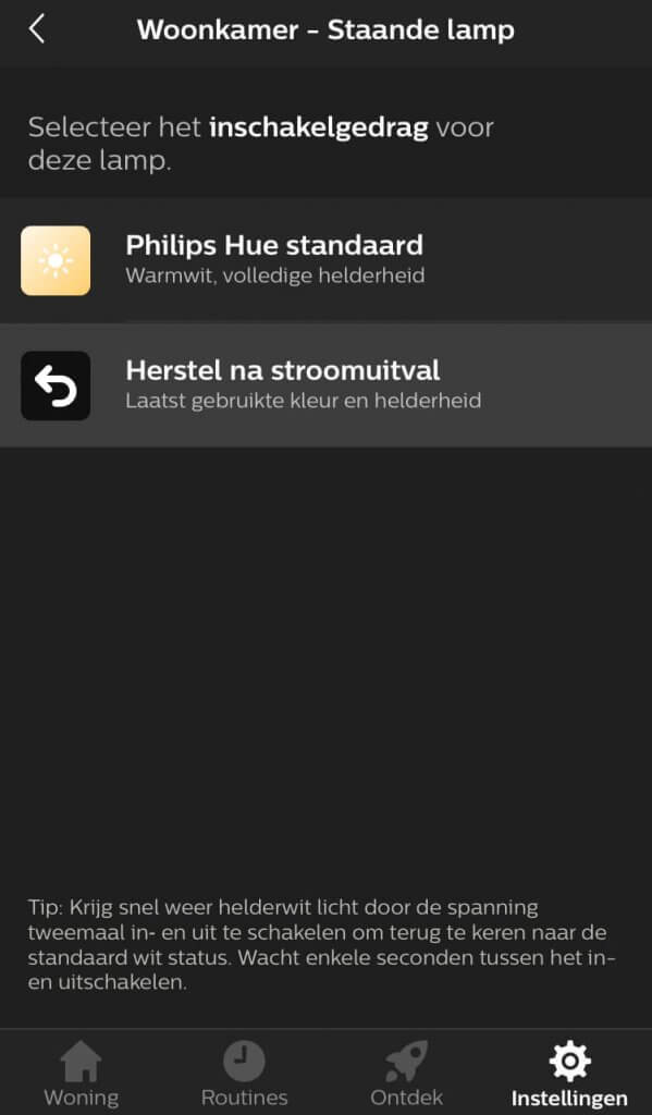 Power on behavior philips hue