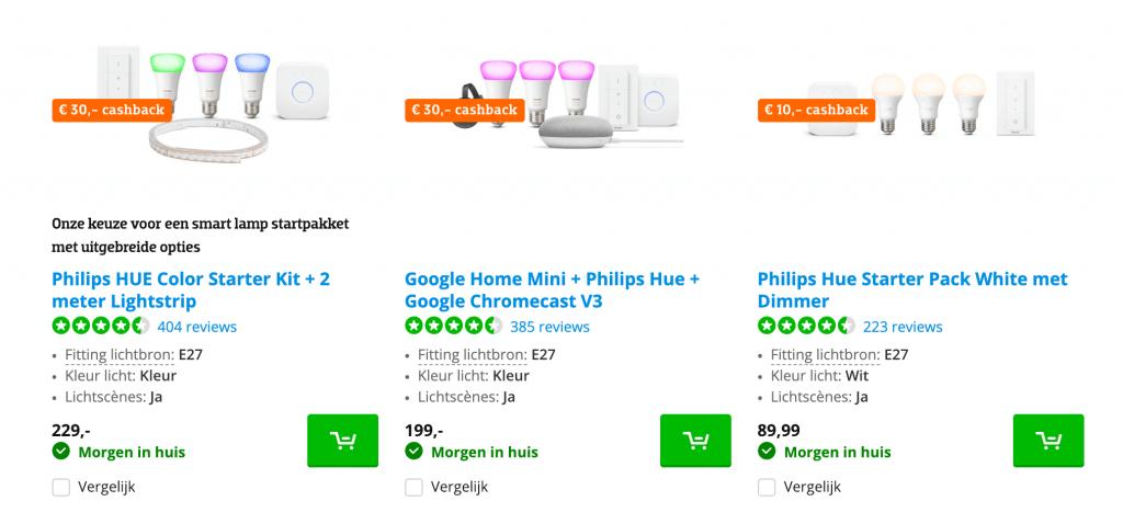 philips hue cashback producten
