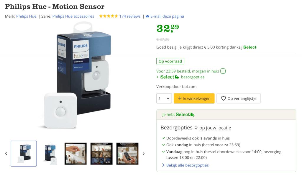 Philips Hue motion sensor aanbieding - select bolcom