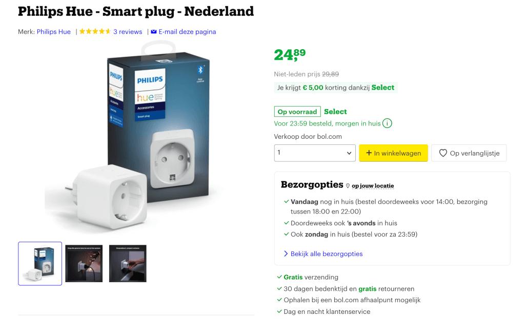 Philips hue aanbieding - smart plug bol