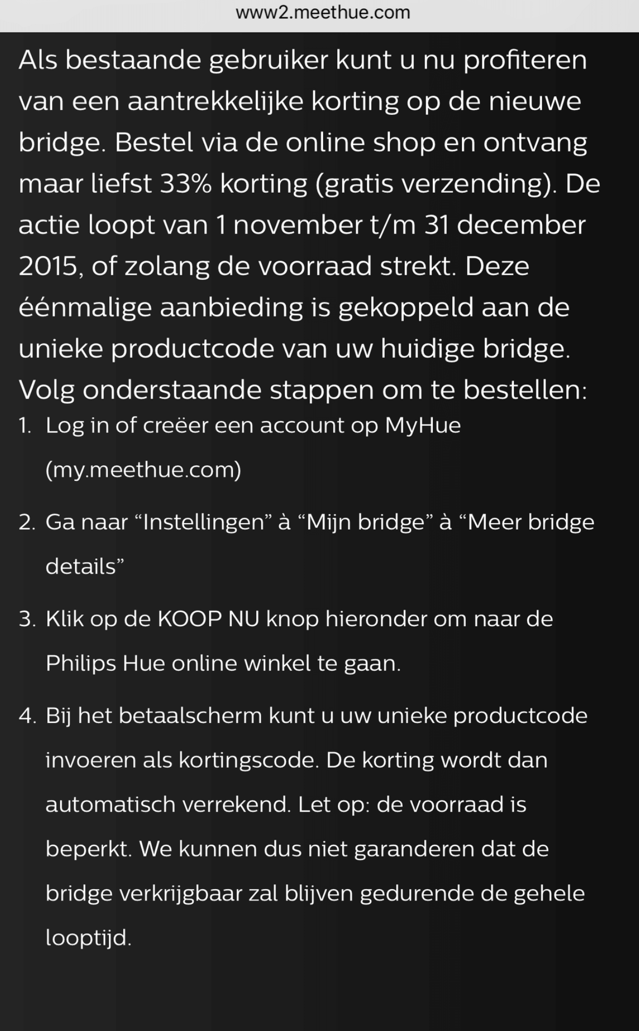Philips hue bridge actie 2015