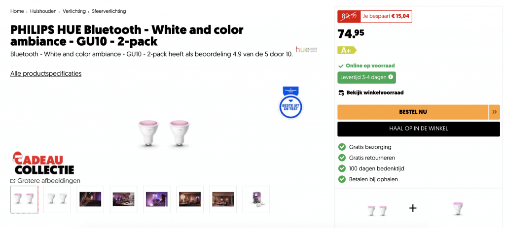 Philips hue gu10 aanbieding color white ambiance