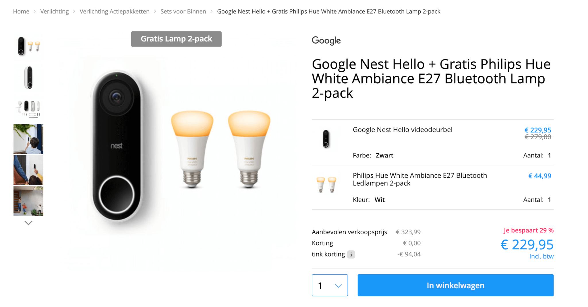 Nest video deurbel gratis hue lampen
