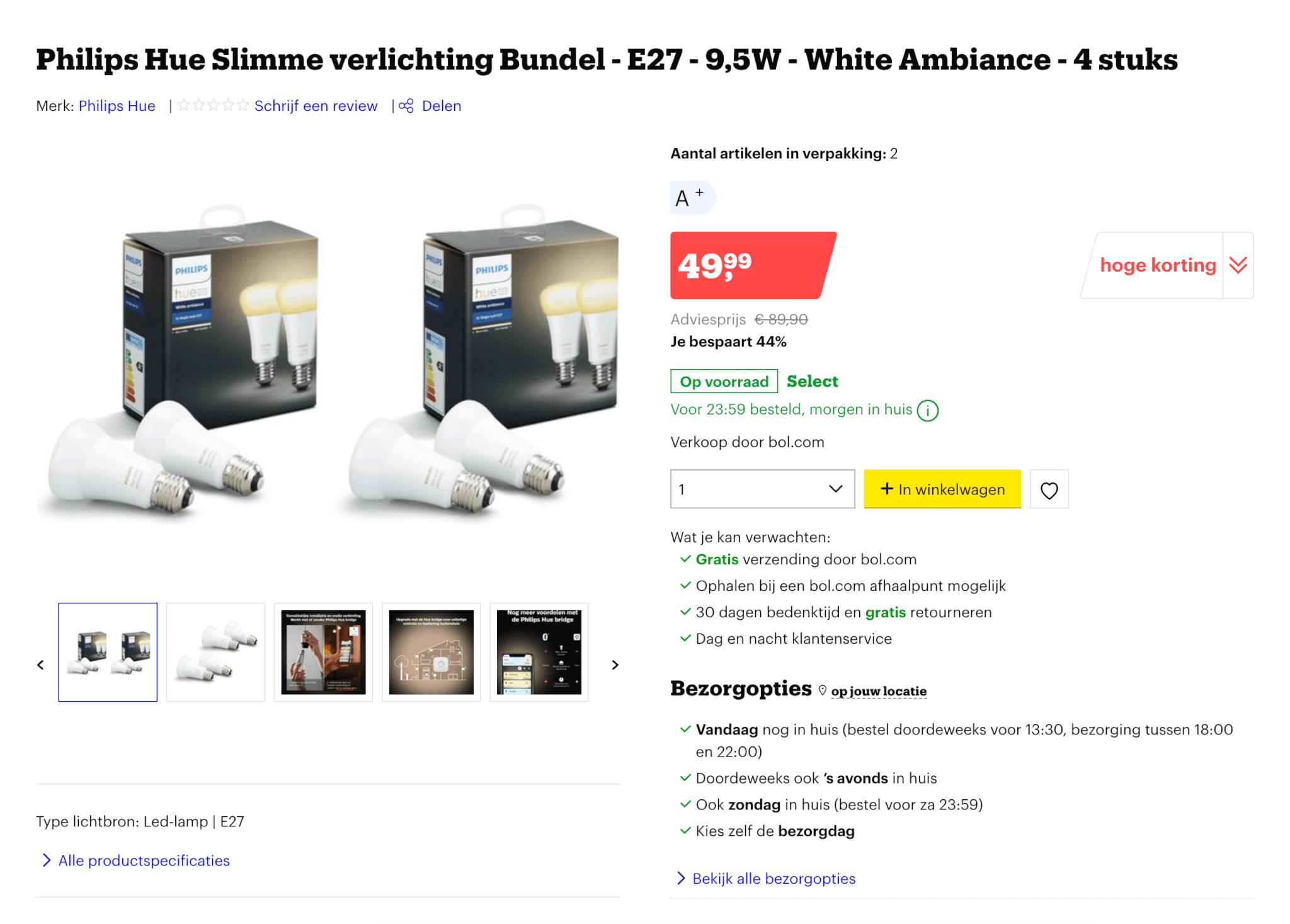Philips hue white ambiance E27 aanbieding