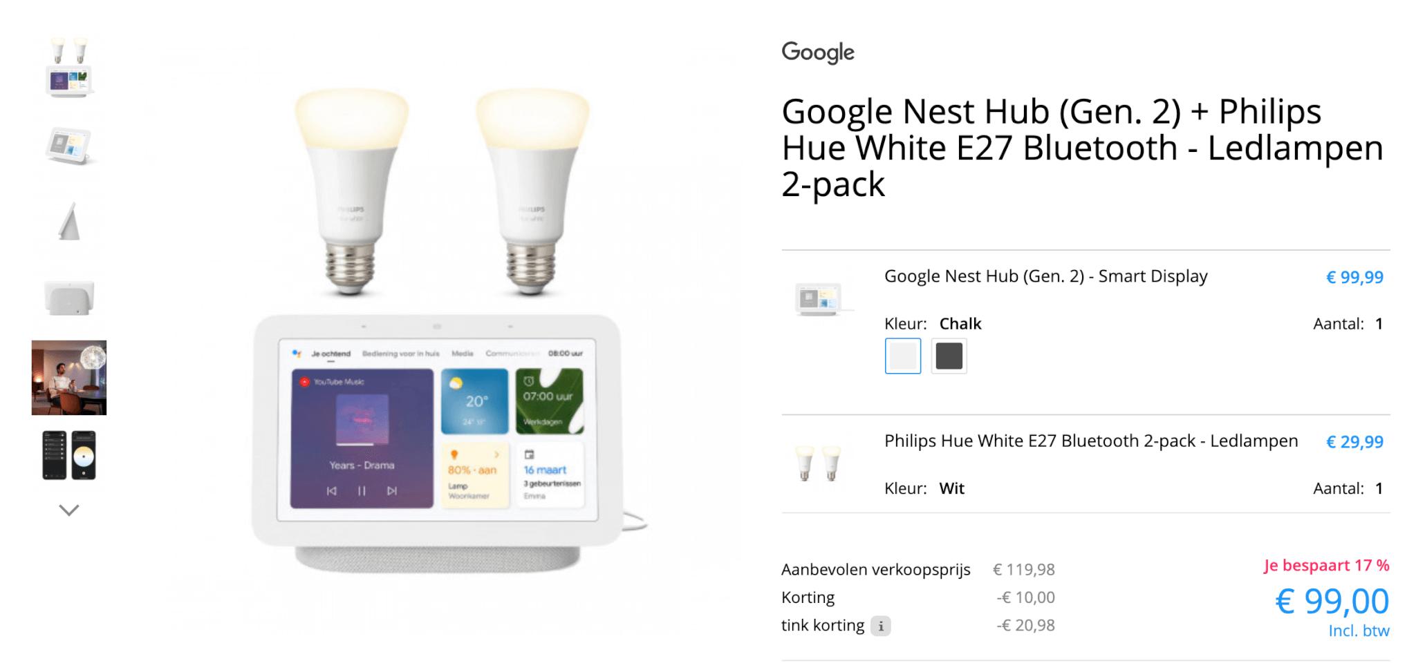 Google nest hub 2 aanbieding + hue white lampen