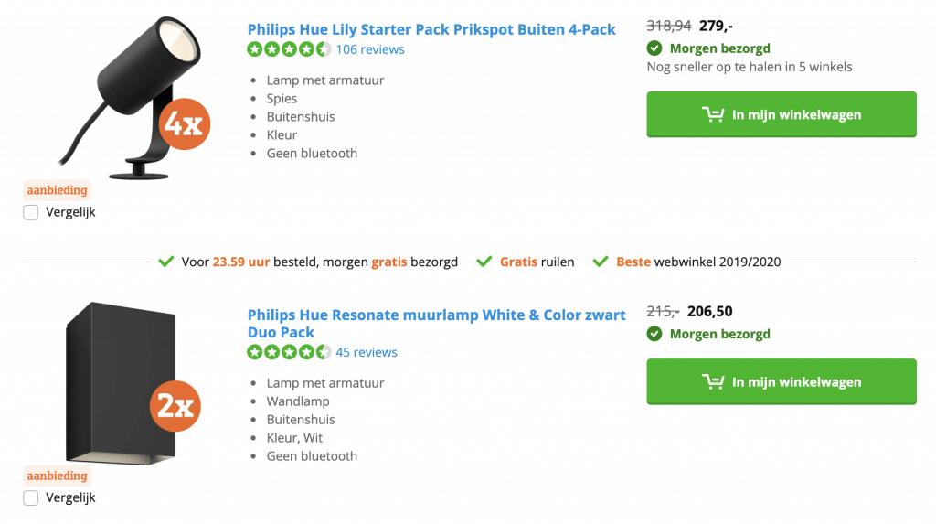 Philips hue aanbiedingen acties kortingen alles
